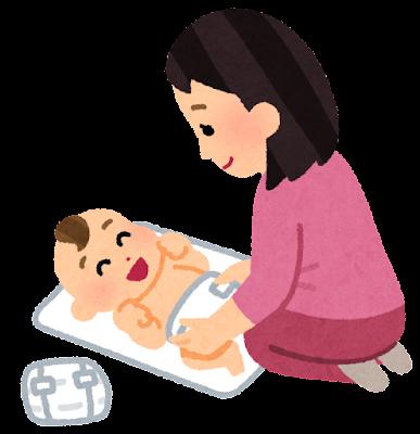 オムツを替える母親のイラスト