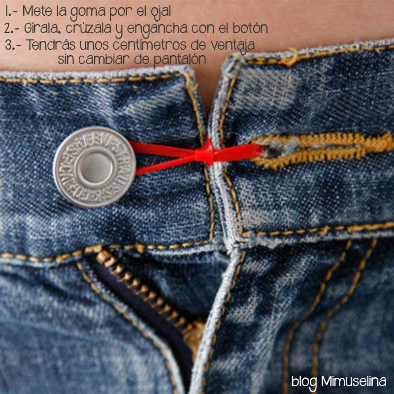 ef34840a5 El otro lado de la goma encajará en el botón a la perfección ganando varios  centímetros. blog mimuselina trucos ropa premamá