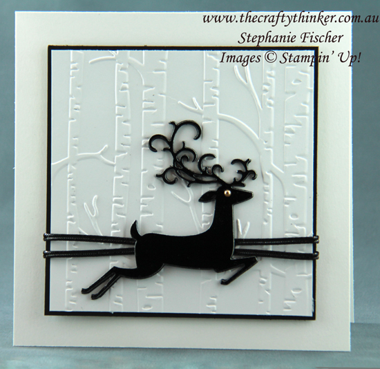 #thecraftythinker  #christmascard  #crazycraftersbloghop  #detaileddeer  #cardmaking #xmascard , Christmas Card, Detailed Deer, Woodland embossing folder, Stampin' Up Australia Demonstrator, Stephanie Fischer, Sydney NSW
