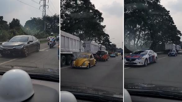 Viral Video Polisi Kawal Rombongan VW dan Mobil Pejabat Lawan Arus di Tol Jagorawi