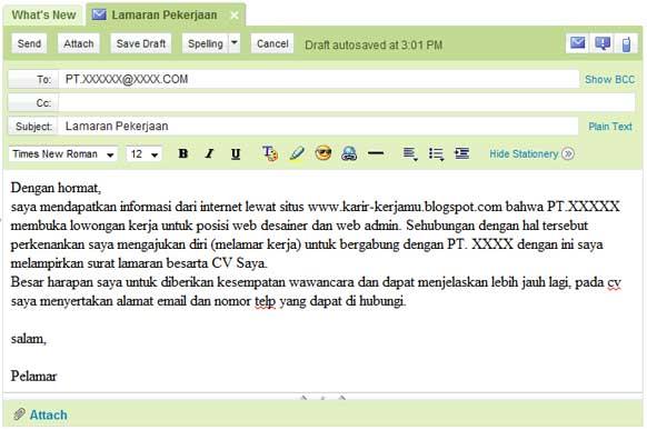 Contoh Surat Lamaran Kerja Via Email Operator Mesin Digital
