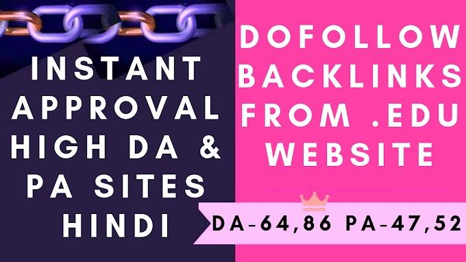 Dofollow backlinks from edu website instant approval high DA & PA websites 2019