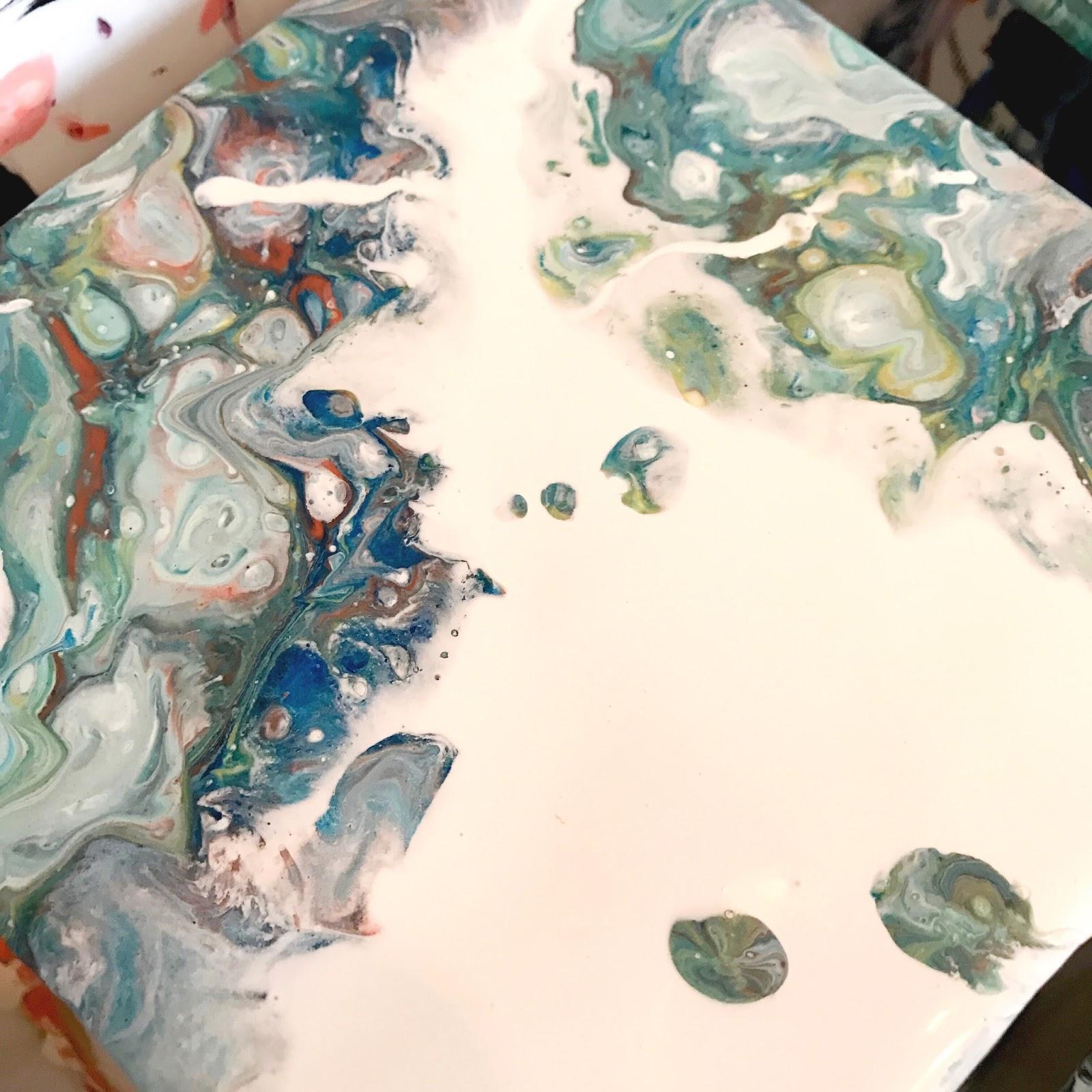 Fluid Fridays Acrylic Pour Painting Ceramic Tile Pours