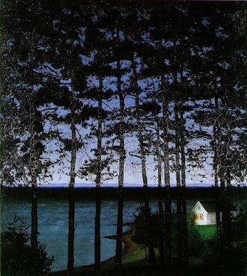 Norvège Harald Sohlberg : Maison de pêcheur peintre norvégien néo-romantique