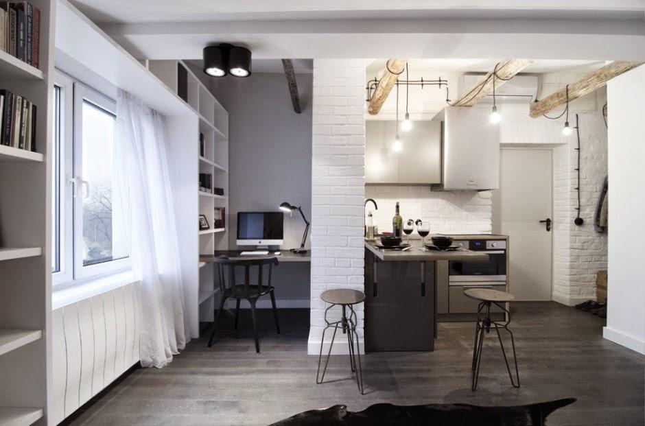 Interiores estudio de 17 metros con decoraci n industrial for Estudio de decoracion de interiores