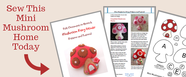 Sew this mini mushroom house plush ornament design by hand