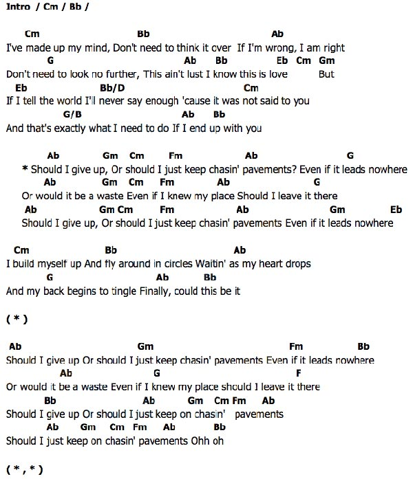93ecc8190ab คอร์ด เนื้อเพลง Chasing Pavements Adele Chordza