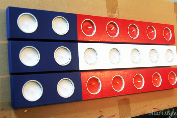 Painted patriotic candle holders