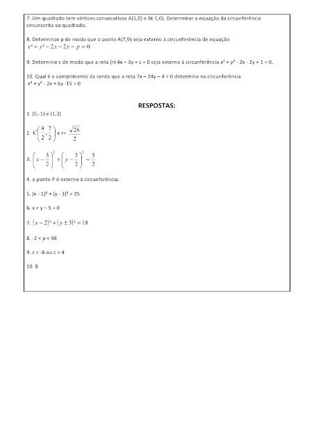 geometria analitica exercicios