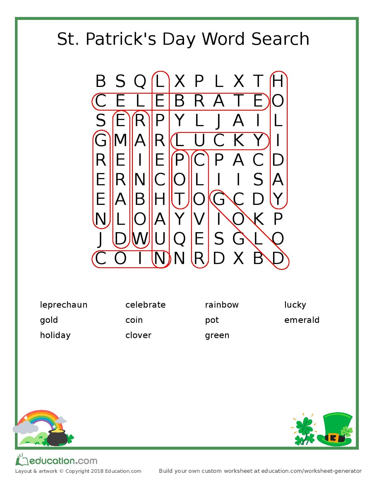 Leroylime St Patrick S Day Word Search