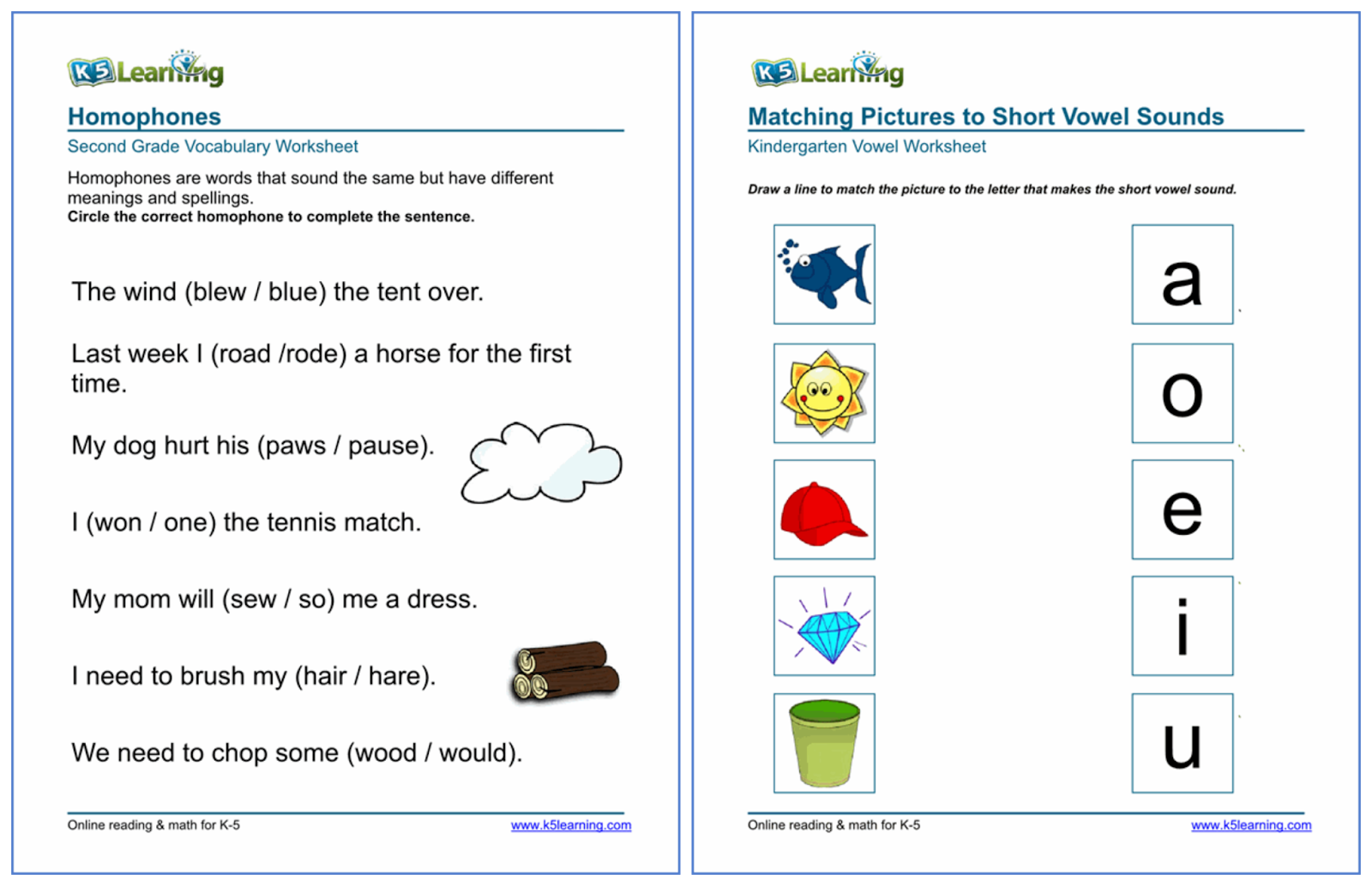 K 5 Worksheets : Online math and reading enrichment program for kids k