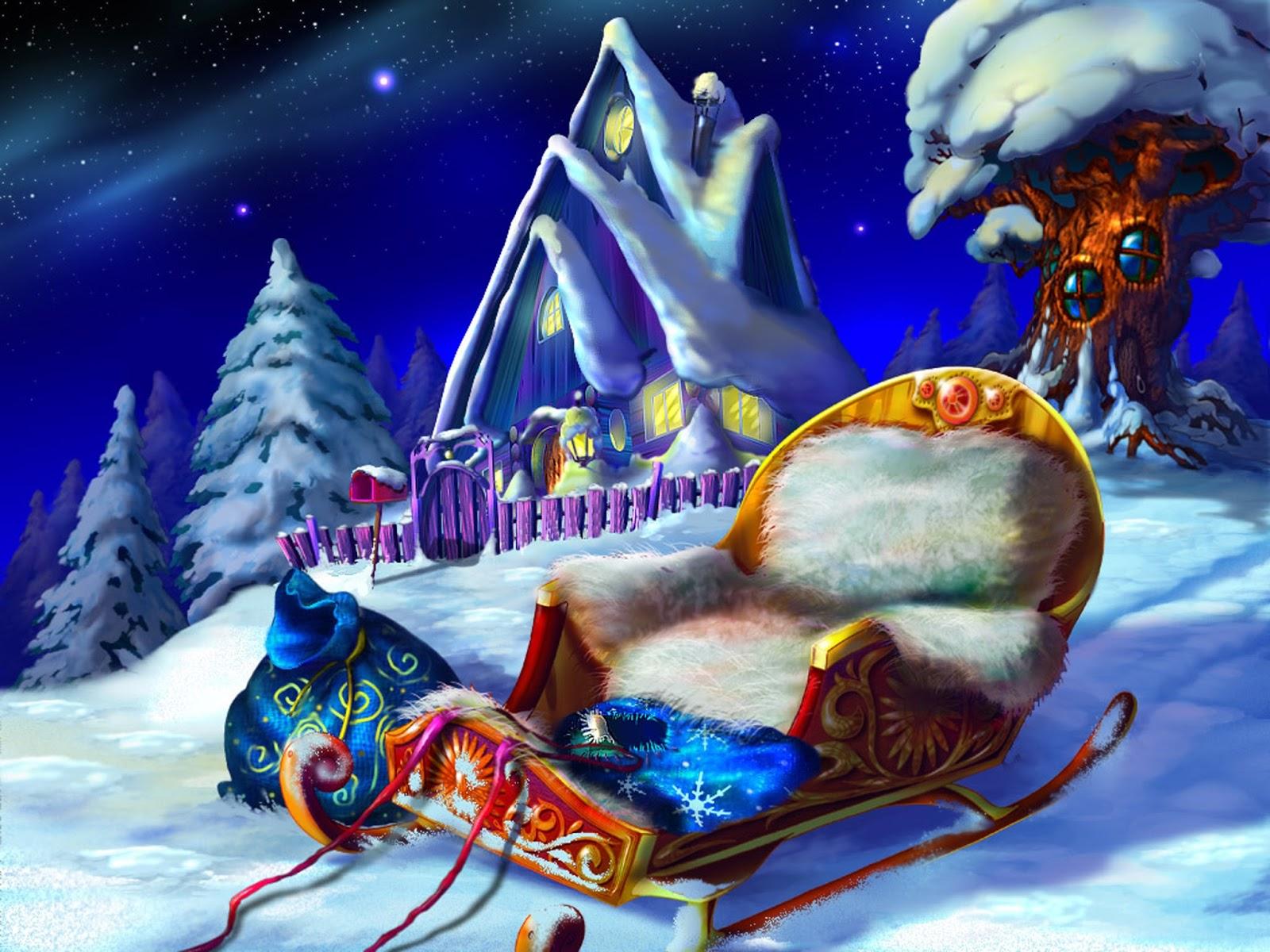 Fondo De Pantalla 3d De Navidad De Santa Vas De Luna Hd: Fondo De Pantalla Navidad Trineo De Santa Claus
