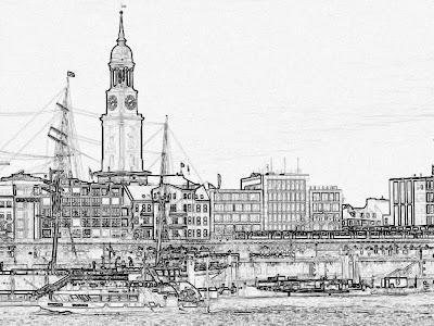 Konturen vom Hamburger Hafen, Michel und Rickmer Rickmers, Hamburg Fotos kostenlos