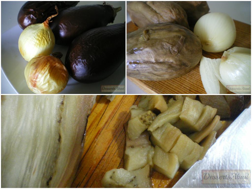 Berenjenas y cebollas asadas para el almodrote