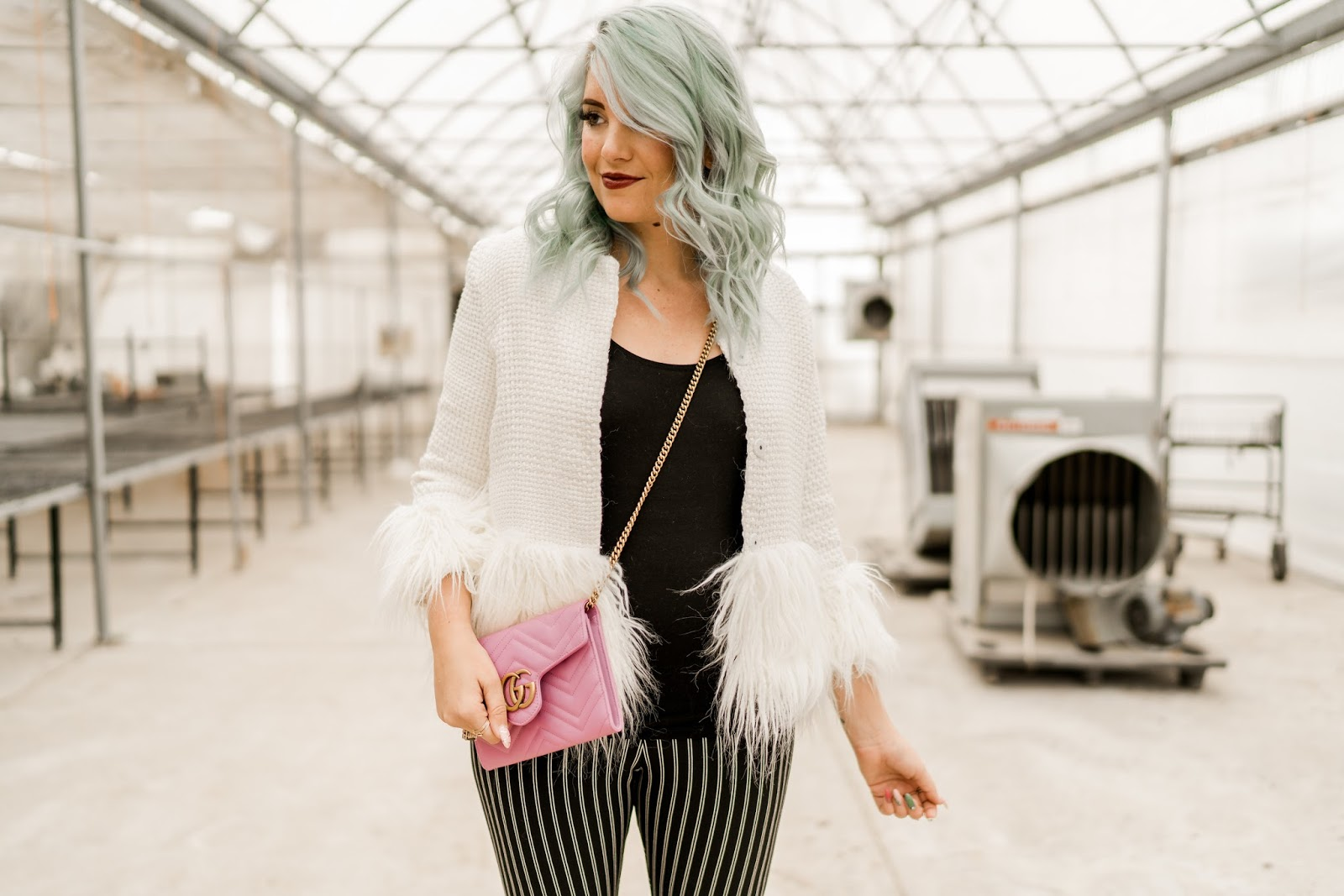 Fur Jacket, Gucci Crossbody, Blue Hair