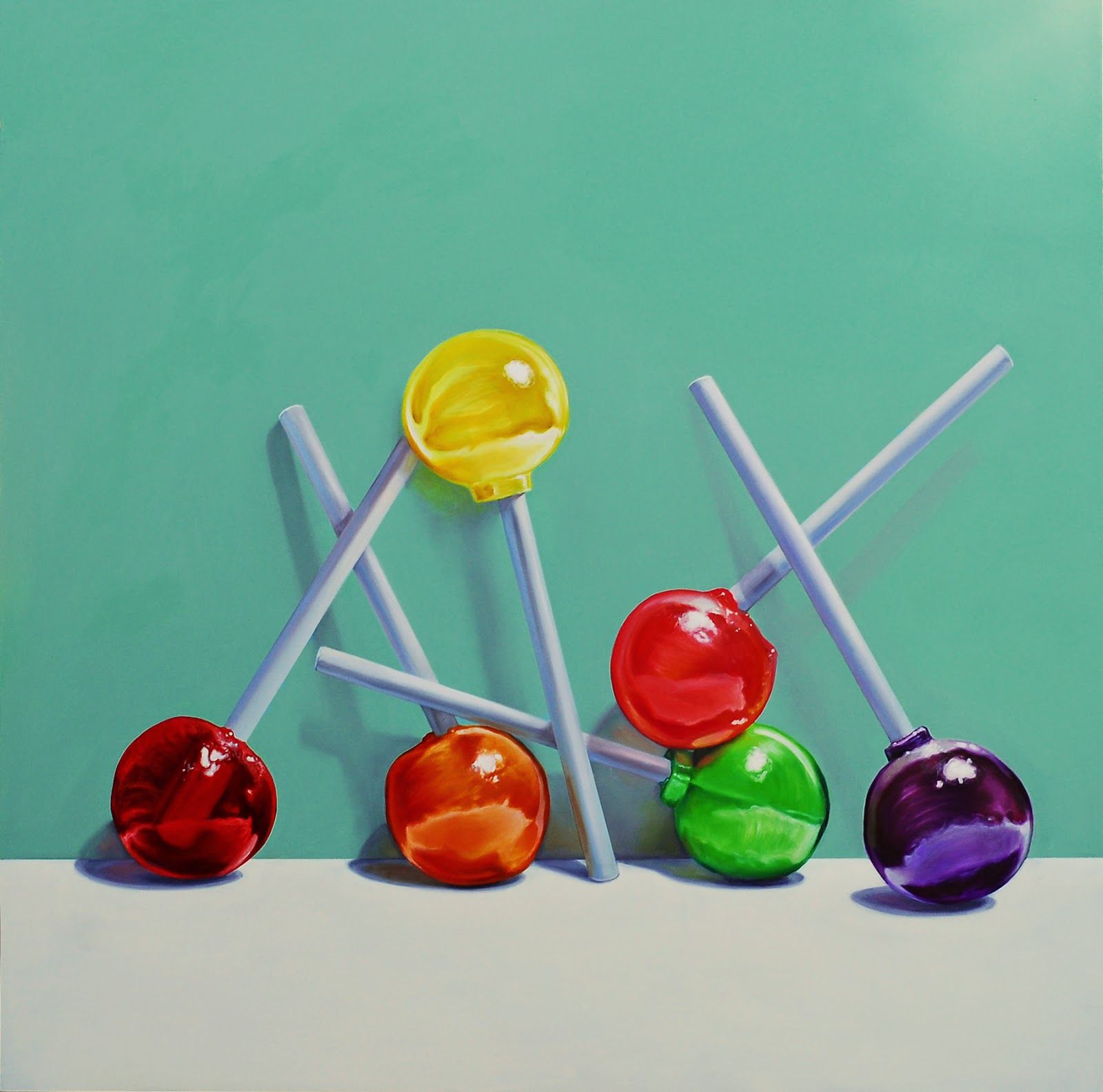 Lollipop painting, still life, original candy painting jeanne vadeboncoeur
