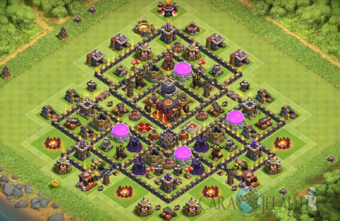 Base Trophy TH 9 COC Update Bomb Tower Terbaru 2017 Tipe 9