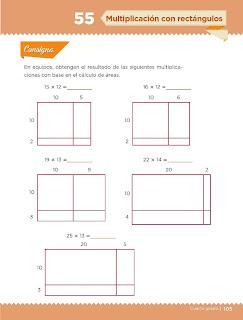 Apoyo Primaria Desafíos Matemáticos 4to. Grado Bloque III Lección 55 Multiplicación con rectángulos