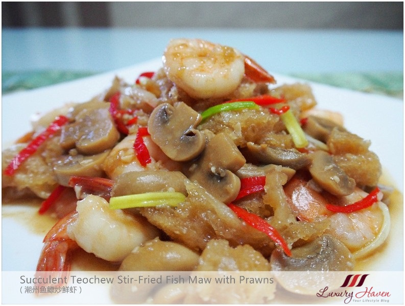 cny food stir fried fish maw with shrimps