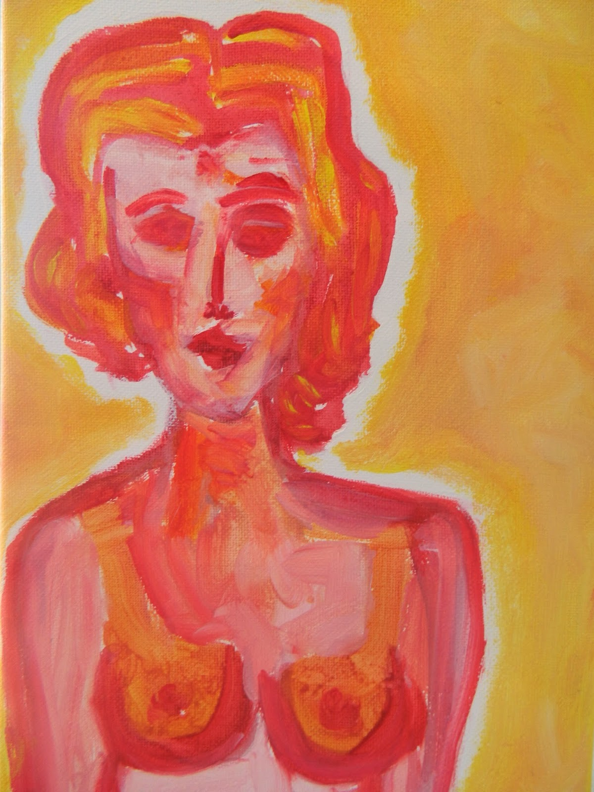 Pintura que muestra a una mujer, de la que se ve su busto, sus pechos y tiene el pelo rubio con fondo anaranjado. Painting that shows a woman in red and orange with asymetric hair, by Emebezeta, living in palma de mallorca, Illes balears, Spain, in 2014, over paper.  Pintura sobre libros reciclados.
