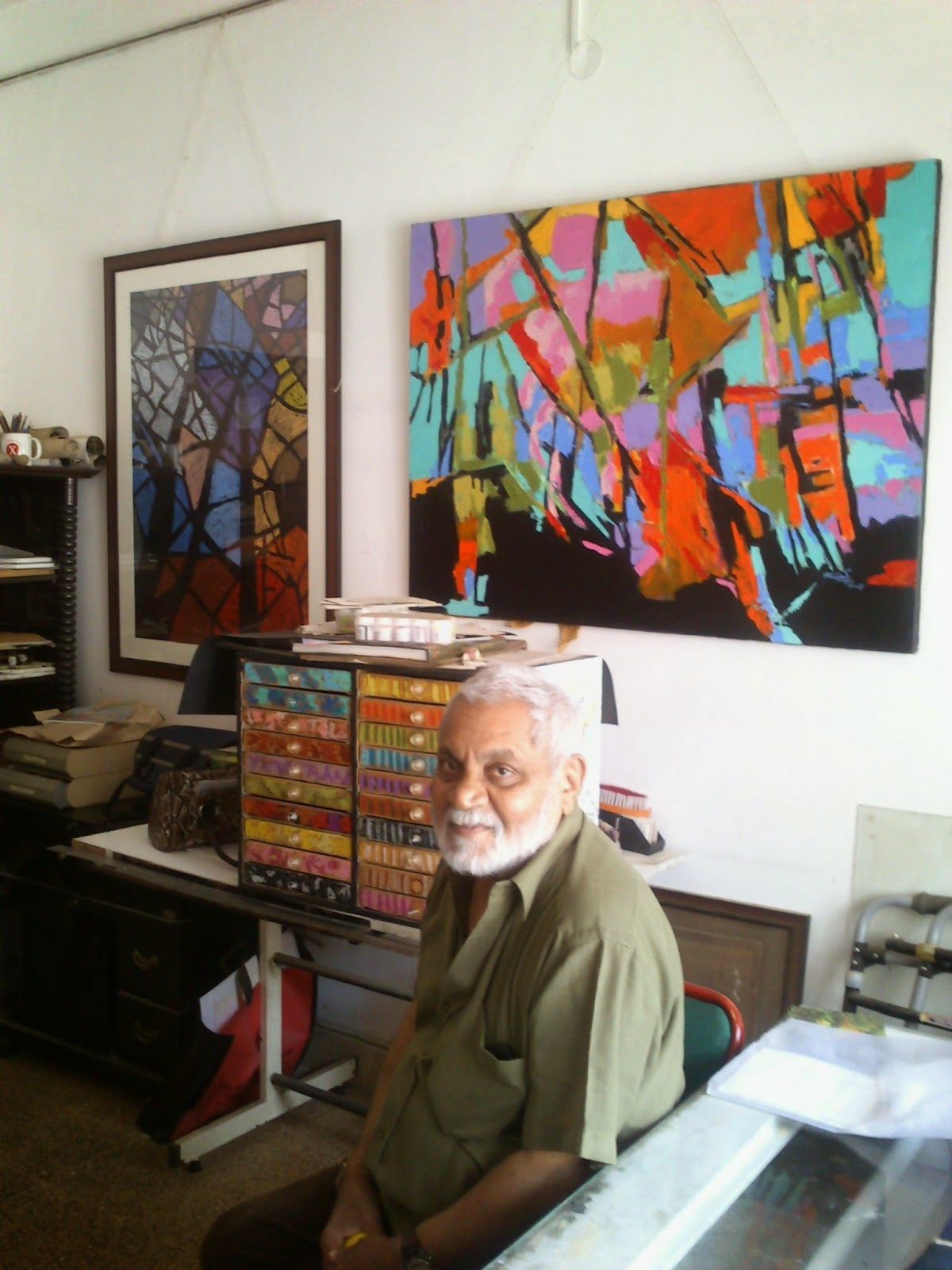 Artist Milind Nayak in his studio, Art Scene India, Picture: Nalini Malaviya