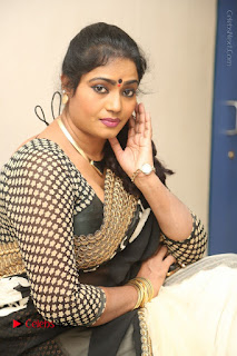 Telugu Actress Jayavani Jayavani Stills in Black Saree at Intlo Deyyam Nakem Bhayam Success Meet  0083.JPG
