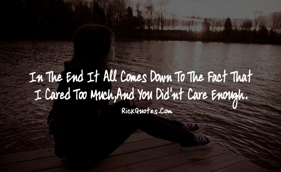 You Didn't Care Enough