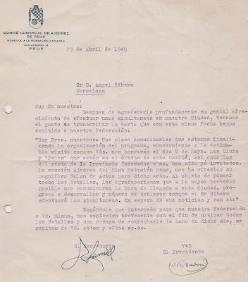 Carta del Comité Comarcal de Ajedrez de Reus en 1949