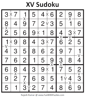 XV Sudoku Puzzle (Fun With Sudoku #273) Solution