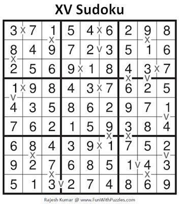 XV Sudoku Puzzle (Fun With Sudoku #273) Solution