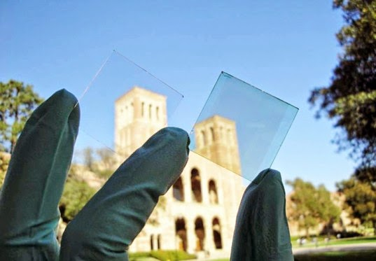 transparent solar glass being held