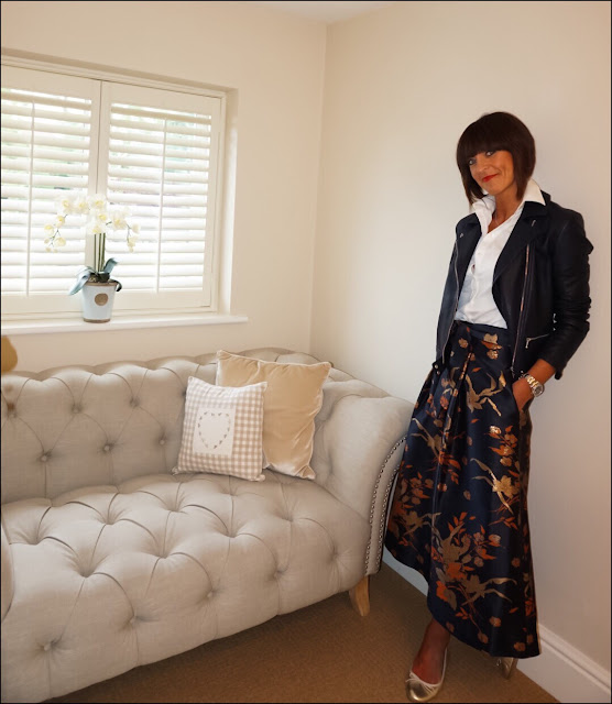My Midlife Fashion, Massimo Dutti Leather Biker Jacket, Zara poplin white shirt, marks and spencer limited collection textured midi skirt, massimo dutti gold metallic ballet pumps