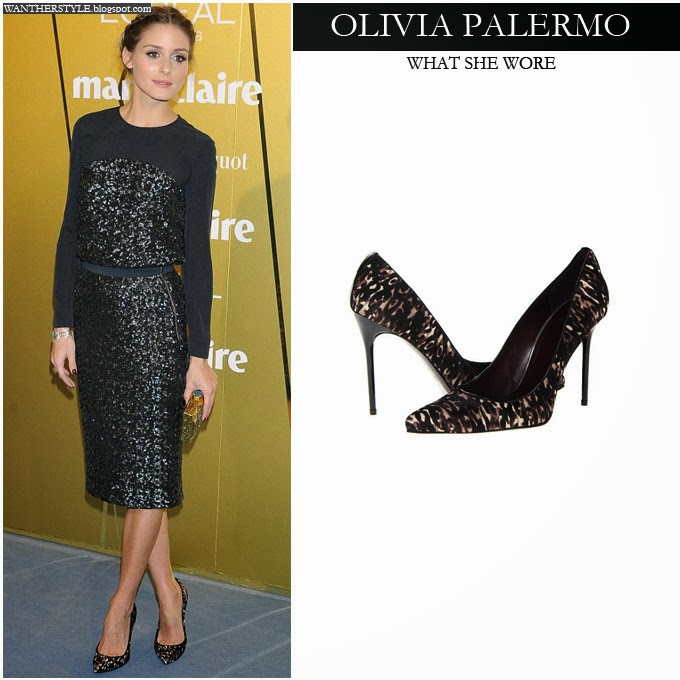 551daec2aa55cf Olivia Palermo in black sequin Whistles dress with printed pumps November  21 2013 Want Her Style