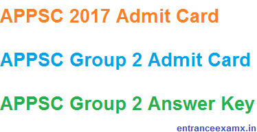 APPSC 2017 Admit Card