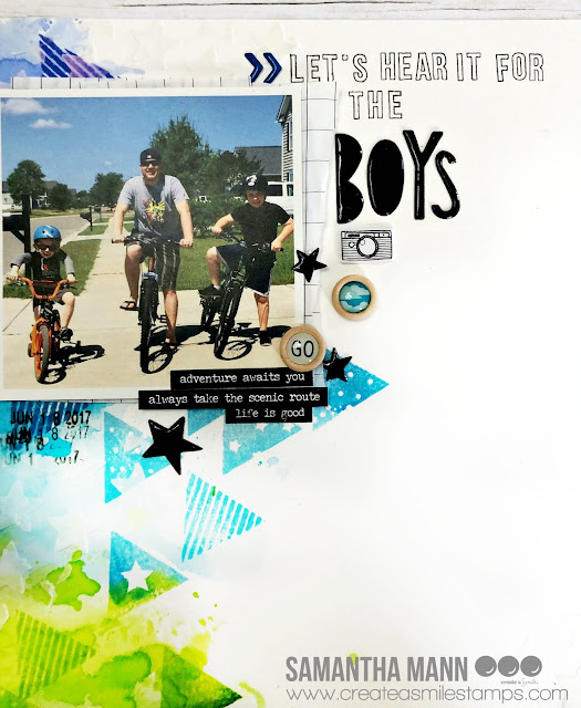 Let's Hear it for the Boys Layout by Samantha Mann for Create a Smile Stamps, Scrapbook, Layout, Mixed Media, embossing paste, stencil, #createasmile #scrapbook #layout #mixedmedia #embossingpaste #scrapbooking