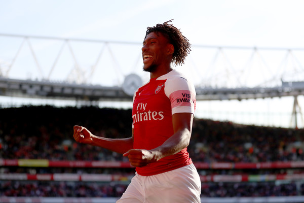 Alex Iwobi of Arsenal celebrates after their first goal during the Premier League match between Arsenal FC and Watford FC at Emirates Stadium on September 29, 2018 in London, United Kingdom.