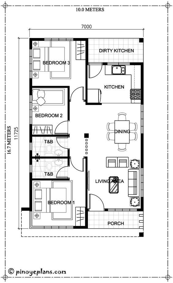 Desain Rumah 7x12 : desain, rumah, Koleksi, Denah, Rumah, Minimalis, Ukuran, Meter