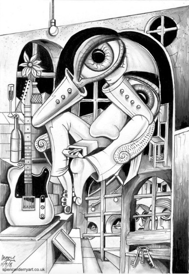 Hand-drawn and painted artwork. A person holding a large eye sits in his ivory tower with two cigarettes and a electric guitar and a bottle of wine, while a female couple stare through barred windows below.