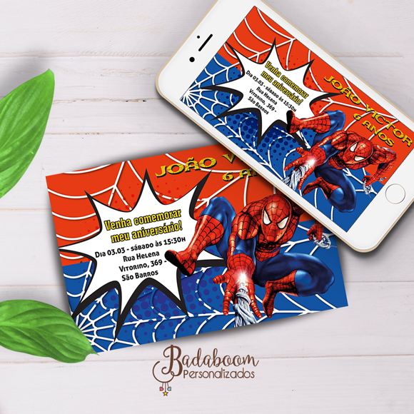 convite, digital, arte, impressão, whatsapp, homem aranha, heróis, personalizado