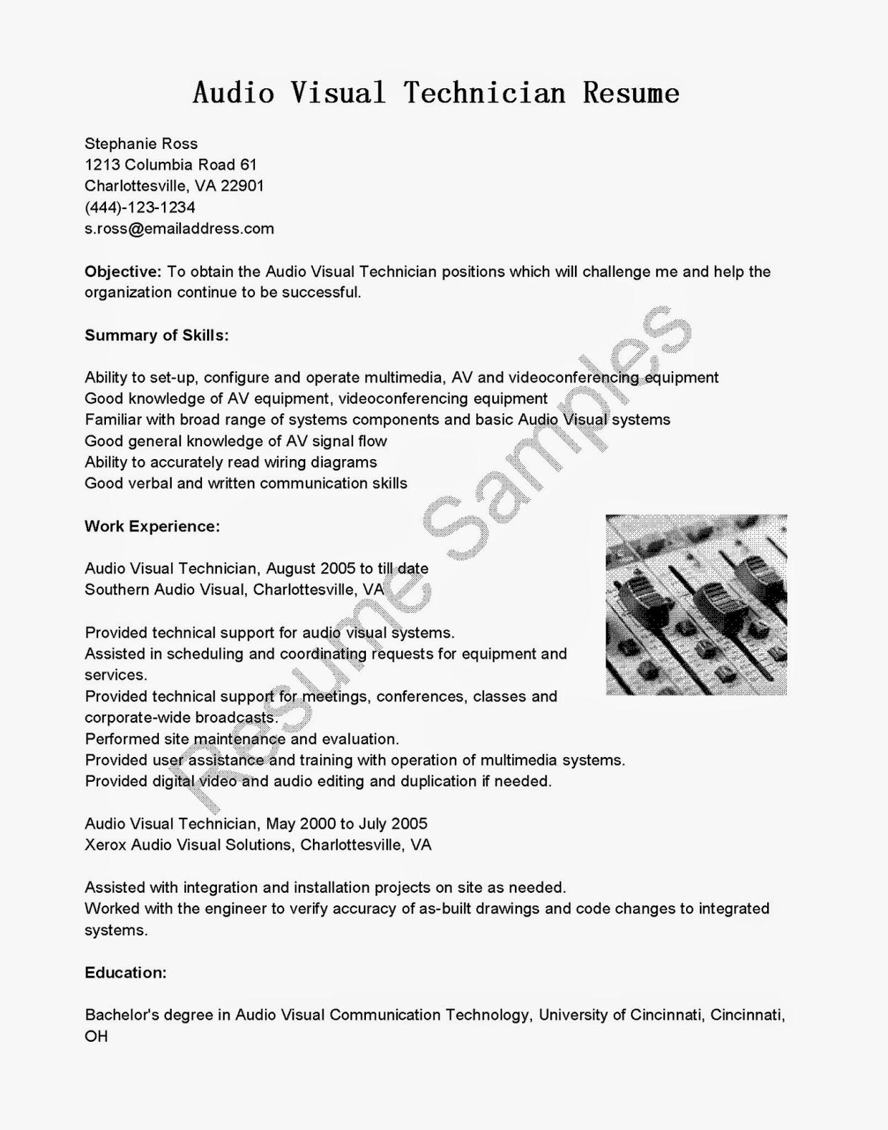 Resume Samples Audio Visual Technician Resume Sample