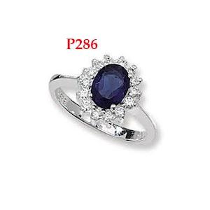 cincin permata biru bunga mawar -cincin perak