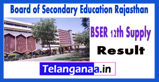 Board of Secondary Education Rajasthan 12th Supplementary Result 2018