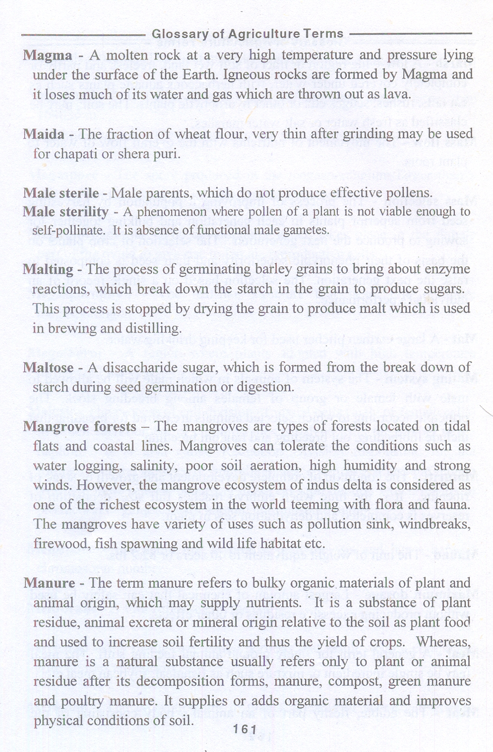 Glossary or Agriculture Terms | Roshni Publication