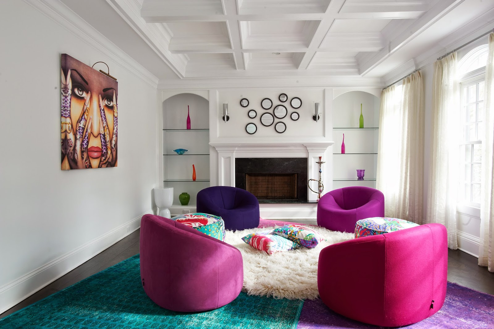 Pink in the Living Room Colorful Accent Chairs in Living Room with Fireplace and Mirror Wall Gallery Colorful Rugs Contemporary Art