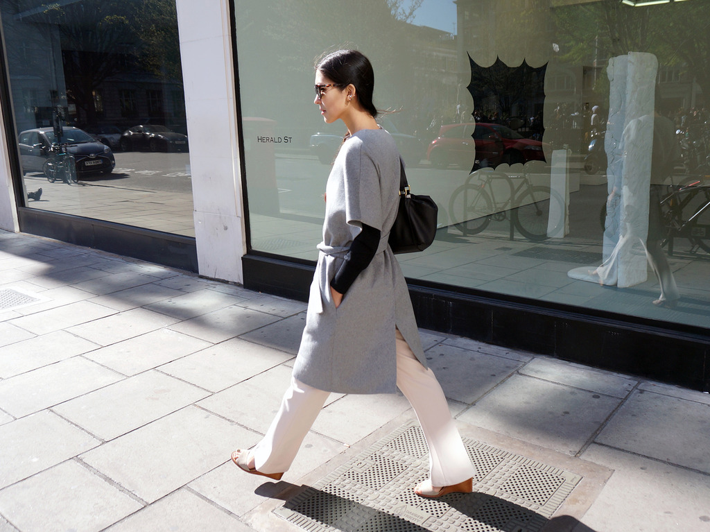 Euriental | fashion & luxury travel | grey short sleeve wool coat, Fendi bag, L.K. Bennett top, Diesel sunglasses.