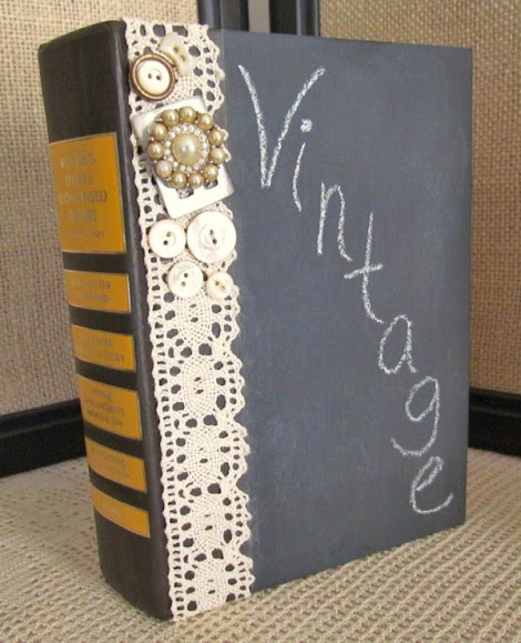 make a chalkboard with an old book and embellish with vintage lace