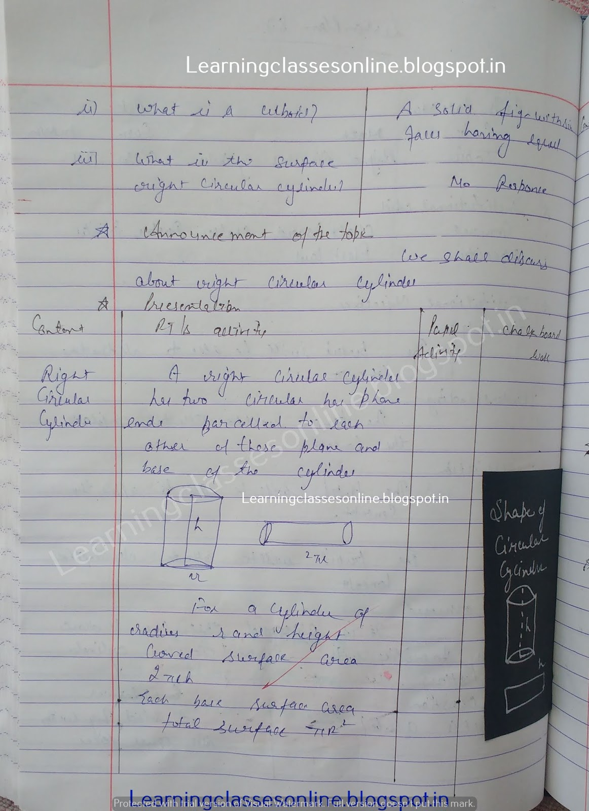 mathematics lesson plan on right circular cylinder, B.Ed math lesson plans