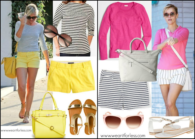 celebrities wearing stripes, celebrity street style, how to wear striped shorts and tops, celebrity summer style wearing shorts