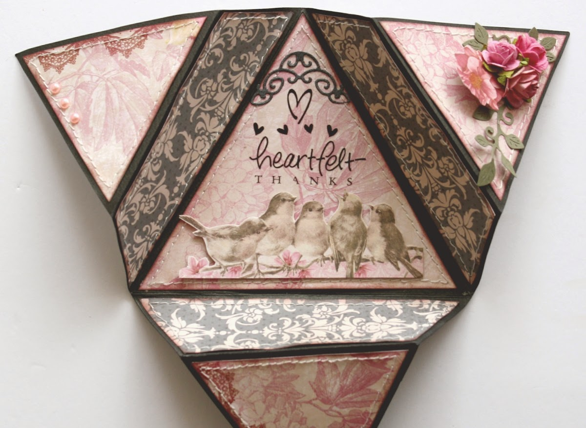 Folded star card by Gabrielle Pollacco using Bo Bunny's Madeleine collection papers and embellishments