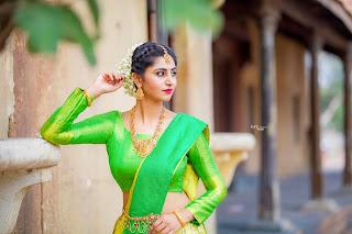 Telugu TV Actress Varshini Sounderajan Pictures in Green Lehenga Choli (1)